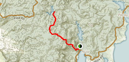 Twin Peaks Trail to Nugget Track to Upper Huia Reservoir Map