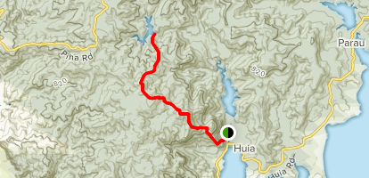 Twin Peaks Trail to Nugget Track to Upper Huia Reservoir (CLOSED) Map