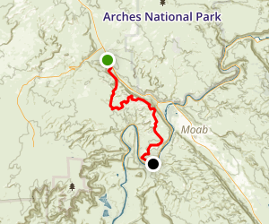 Gemini Bridges to Poison Springs via Gold Bar Rim Map