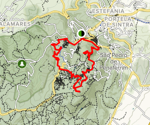 Sintra Palace to Moorish Castle to Pena Palace Loop Map