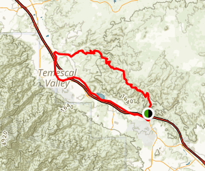 Walker Canyon Trail to Temescal Canyon Road Loop Map
