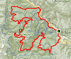 El Corte Madera Creek to Blue Blossom Trail Loop Map