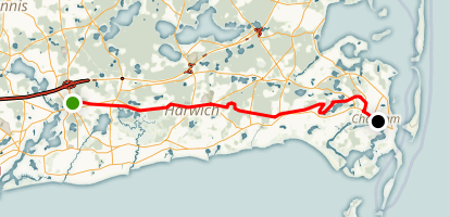 Cape Cod and Old Colony Rail Trail: Dennis to Chatham Map