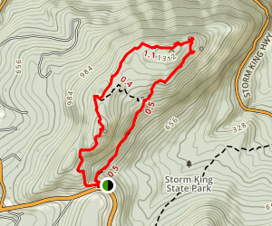 Storm King Mountain via Storm King Trail Map