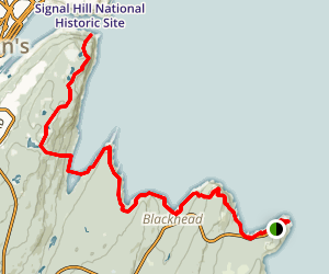 Cape Spear to St John's via Deadman's Bay Path Map