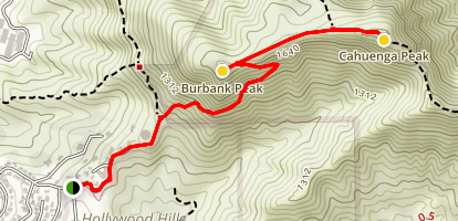 ​Cahuenga Peak via Burbank Peak Trail Map