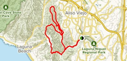 Aliso and Woods Canyon to Alta Laguna Park Loop Map