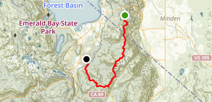 Monument Pass, Freel Peak, and Mr. Toads Wild Ride via Tahoe Rim Trail Map
