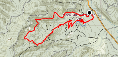 Alsea Falls, Fall Creek, Highballer, and Springboard Map