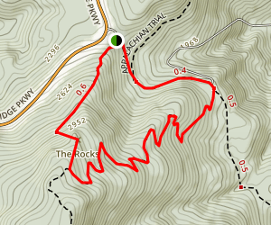Humpback Rocks Loop Via the Appalachian Trail Map