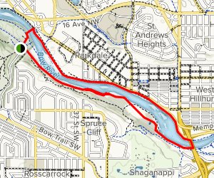 Bow River Pathway North and South Loop Map