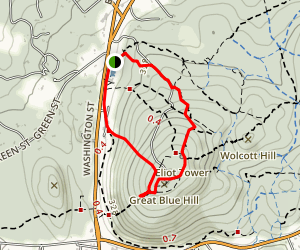 Blue Hills Trail to Elliot tower Map