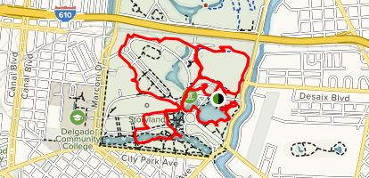 Louisiana New Orleans Map.New Orleans City Park South Loop Louisiana Alltrails