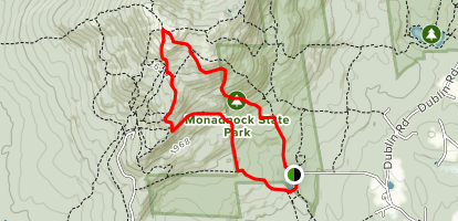 Mount Monadnock via White Cross and Lost Farm Trail Loop Map