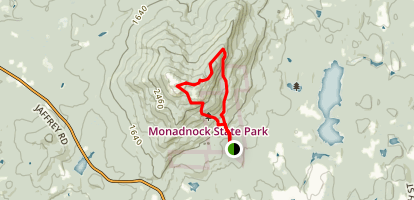 Mount Monadnock via White Dot Trail to Pumpelly Trail to Cascade Link Loop Map