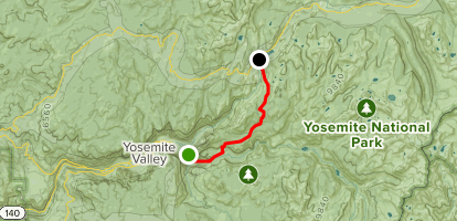 John Muir Trail: Yosemite Valley to Tenaya Lake Map
