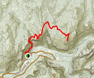 Yosemite Falls Trail to North Dome Map