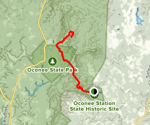 Oconee Station to Hidden Falls Map