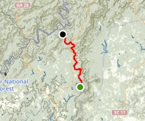 Foothills Trail: Oconee State Park to Nicholson Ford Rd Map