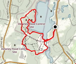 Primary Trail around Delaney Pond Loop from Harvard Road Map