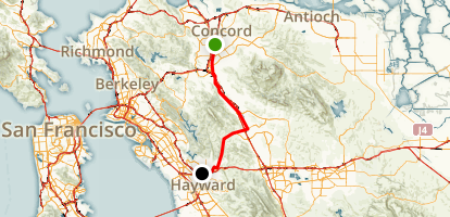 Concord to Castro Valley via the Iron Horse Trail and Crow Canyon Rd Map