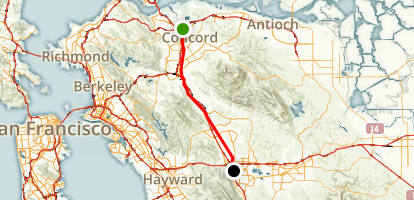 Concord to Dublin via Iron Horse Trail Map