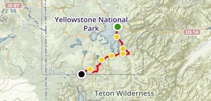 Yellowstone Thorofare Trail to Heart Lake to South Entrance Trail Map
