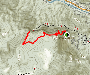 Exclamation Point and Skyline Trail to Hickory Nut Falls Map