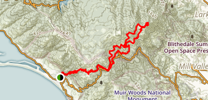 Backpacking from Stinson Beach to Mt. Tamalpais Map