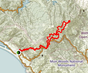 Stinson Beach to Mount Tamalpais Loop via Matt Davis Trail Map
