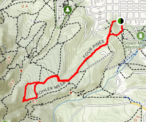 Woods Quarry and Mesa Trail Loop via Four Pines Map