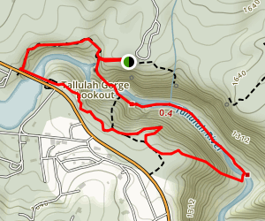 Tallulah Gorge Trail to North Rim Trail Loop Map