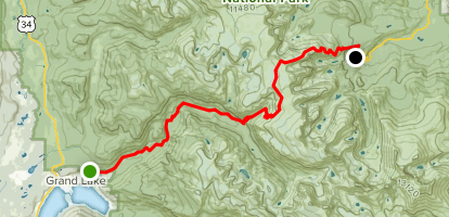 Bear Lake Trail Head to North Inlet Trail Head Map