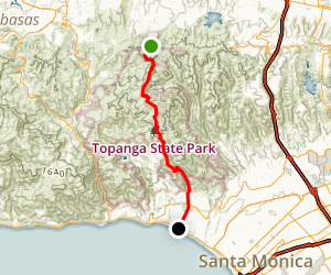 Lemming Trail: Temescal Canyon Road to the Beach Map