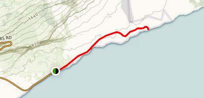 End of Chain of Craters Road Trail to Lava Viewing Map