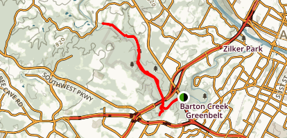 Barton Greenbelt Trail via Barton Creek Plaza Map