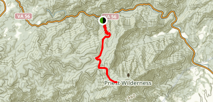 Crabtree Falls to Priest Shelter Map