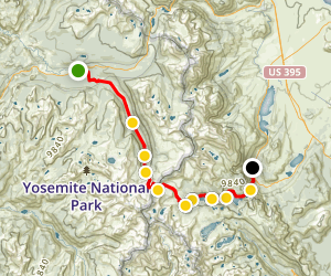 Tuolomne Meadows - PCT/Lyell Creek to Silver Lake  Map