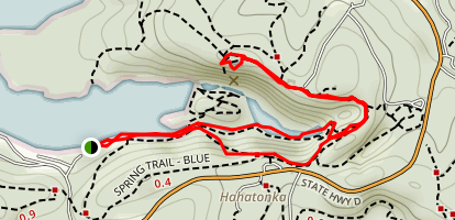 Deers Leap Hill via Del Tim Trail and Spring Trail Map