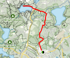 Lincoln to Walden Pond Map