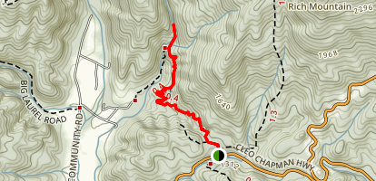 Twin Falls Trail on Reedy Cove Creek Map
