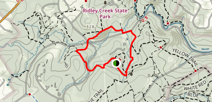 Ridley Creek Red Trail to White Trail Loop Map
