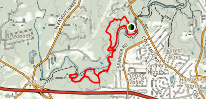 Cole Mill Crossing to Eno Quary Trail Loop Map