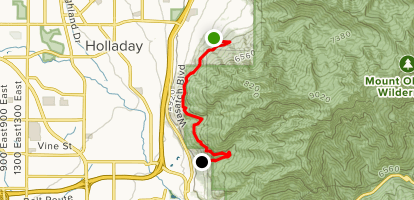 Bonneville Shoreline Trail: Olympus Cove to Hughes Canyon Map