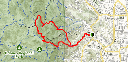 Blue Oak Trail and Spengler Trail Loop to Tabletop Map