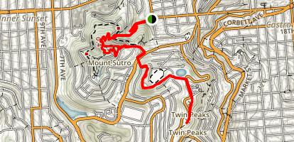 Mount Sutro to Twin Peak Map