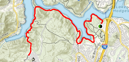 South Shore of Lake Hodges Map