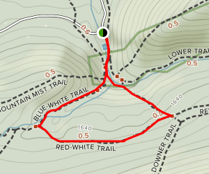 Blue-White Trail to Red-White Trail Loop Map