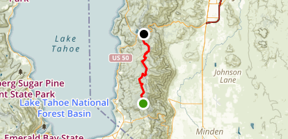 Lake Tahoe Kingsbury Grade to Spooner Lake Bike Ride Map