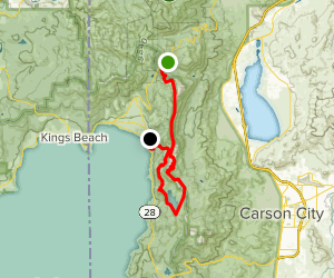 Rim Trail from Mount Rose Meadows to Marlette Lake, Flume Trail to Tunnel Creek Rd Map